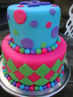 Cool birthday cake | made this cake for a 12 year old girls birthday party the top cake ...