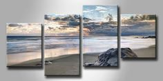 MF 39263408 / Cuadro Playa con piedra negra en el crepusculo