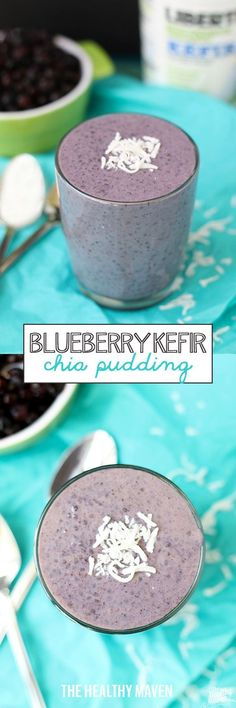 Blueberry Kefir Chia Pudding -combine two heart-healthy ingredients, kefir and chia seeds to make this delicious and flavorful dessert or snack recipe!>>> >>> >>> We love this at Little Mashies headquarters littlemashies.com