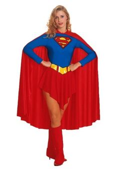 Put this adult Supergirl costume together with a Superman costume for a couples look this Halloween that is unstoppable. This is a female superhero costume.