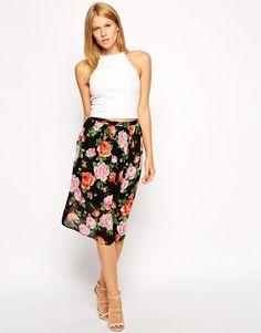 Love | Love Midi Skater Skirt In Floral Print at ASOS