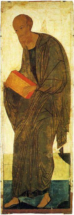 Icone della Deesis dalla cattedrale della Dormizione di Vladimir 1408 Andrey Rublëv.