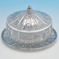 B6950: Antique Sterling Silver Butter Dish - Benjamin Preston Hallmarked In 1863 London - Victorian - Image 1