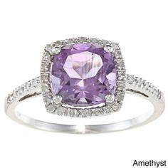Instagems White Gold Cushion Amethyst and Diamond Halo Ring * Engagement Rings And Wedding Bands Amethyst And Diamond Ring, Halo Diamond, Gold Cushions, Halo Rings, Vintage Engagement Rings, White Gold Rings, Women Jewelry, Gemstones, Watches