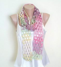 Crochet cotton colorful extra long scarf belt by KnitterPrincess, $30.00