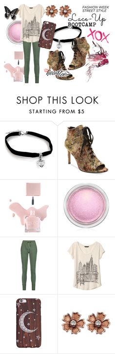 """Lace Up Bootcamp"" by orchidsong0710 ❤ liked on Polyvore featuring Nanette Lepore, MAC Cosmetics, Étoile Isabel Marant, Banana Republic and GALA"