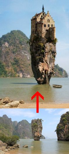 """Neat. But no. This is not Ireland. It is Thailand. I've seen it myself. Sadly, there is no magic castle up there, although there might be a secret spy lair inside. Nail Island is more popularly known to the tourist touts as """"James Bond Island"""" because it was featured in a Bond film. The """"before"""" photo (not the exact one, though) is from someone called Wondering Wandering Wanderer. The castle part, which I hope to one day see, is the very famous Lichtenstein Castle in Austria. Or part of it."""