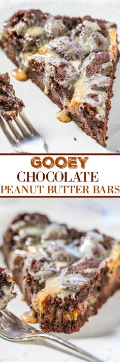 Gooey Chocolate Peanut Butter Bars - A rich, fudgy, decadent, brownie-like base with a peanut butter mixture poured over the top!! Fast and easy! So gooey and so good!!