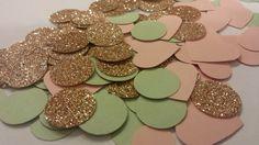 Rose Gold Glitter, Mint Green & Blush Pink Confetti metallic confetti Bridal Shower Confetti Wedding Reception Table Confetti on Etsy, $5.00