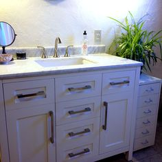 Bathroom remodel.  42″ Malibu Vanity Ensemble with Pfister Solita 8″ Bathroom faucet, from Menards. #bathroom #vanity