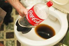 "Cleaning your toilet with coca cola will get out the nastiest stains! One pinner said: ""I had my cousin try it when they bought a house and the toilets were disgusting, this trick left the toilets looking like new!  I have also used Coke for cleaning soot off of the fireplace heat box, or outdoor grill.  I'm glad I don't drink this stuff if it is that great of a cleaning product!""  Really..."