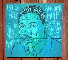 Muddy Waters blues folk art painting by Grego  by MojohandBlues, $250.00