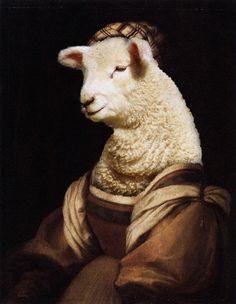 Photoshop Design by Sankrah #photoshop #renaissance #sheep #portrait #montage #designcrowd #art #painting