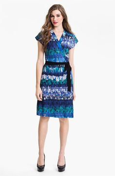 Alex & Ava Mosaic Blue Wrap Dress @Commandress