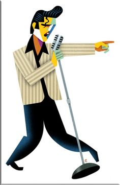 """Elvis"" Singing into Microphone (CARICATURE) by David Cowles"