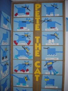 pete the cat - fun project to make with kids to learn color words while learning to id beginning letter and match voice to print. Definitely a read around the room activity! Preschool Literacy, Kindergarten Fun, Preschool Books, Preschool Crafts, Preschool Shapes, Fall Preschool, Preschool Ideas, Pete The Cat Art, Cat Activity