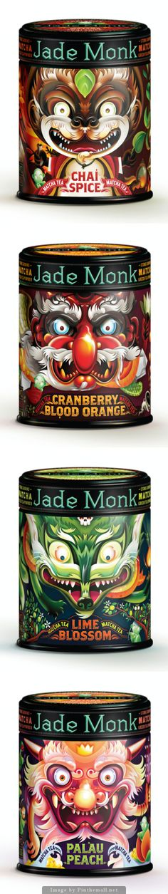 All the awesome Jade Monk canister #packaging on one pin curated by Packaging Diva PD - created via hhttp://www.thedieline.com/blog/2011/1/10/jade-monk-beverage-co.html