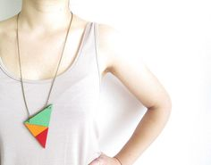 Summery Leather Triangles Necklace