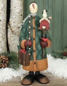 Snowman Holding Birdhouse and Basket Figurine $50.00