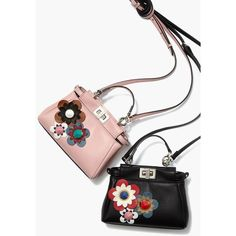 Fendi Peekaboo Micro Flower-Embellished Leather Satchel ❤ liked on Polyvore featuring bags and handbags