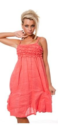 Coral sundress with drapery on the bodice and pockets