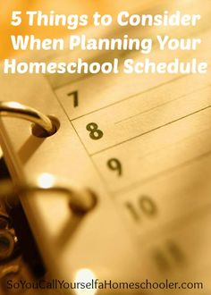 5 Things to Consider When Planning Your Homeschool Schedule :: So You Call Yourself a Homeschooler?