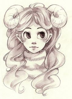 lisola:  horns asdfhjgsgd how do I symmetry. I just wanted to draw Aradia in a sweater like that really. Also is it just me, or does she look different every time I draw her? Haha oh well. This is just a sketch, idk if I'll draw something properly today.