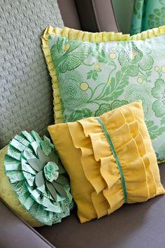 yellow aqua pillows pleated bedding