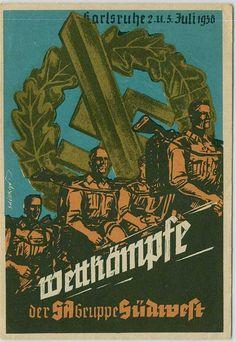 "Karlsruhe Postkarte ""Wettkämpfe der SA-Gruppa Südwest 1938"""
