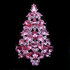 Trendy Christmas Tree Brooch Pin Pink Rhinestone Crystal | eBay