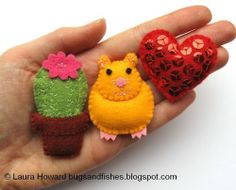 Bugs and Fishes by Lupin: How To: Make a Mini Felt Hamster & Heart