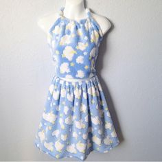 3b5d7e1c9c58 Blue moon   clouds two piece set. Made to order. Handmade skirt and halter