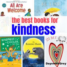 of the best books for back to school. Many suggestions about first day jitters, kindness, and creativity. Kindergarten Readiness, Kindergarten Activities, Book Activities, Kindergarten Graduation, Teaching Kindness, Kindness Activities, Teaching Empathy, Preschool Rules, Preschool Books