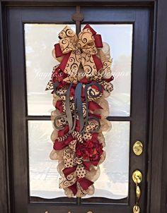 Burlap Door Swag/ Wreath with Burgundy Hydrangeas, Leopard Print, Swirly, Chevron, & Polka Dot Ribbons, and Single Vine Letter. Jayne's Wreath Designs on FB and Instagram.