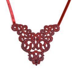 JJ Caprices - Satellite Séville Red Lace Necklace