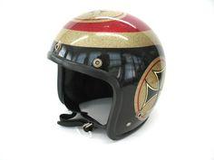 Helmet Iron Cross Metal Flake Motorcycle by FindingMaineVintage