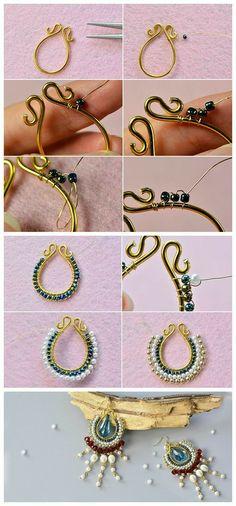 handmade earrings Aretes bisuteria paso a paso Bead Jewellery, Wire Jewelry, Jewelry Crafts, Wire Wrapped Jewelry, Beaded Jewelry, Jewelery, Jewelry Stand, Diy Jewelry Unique, Bijoux Fil Aluminium