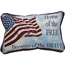 "The ""Home of the Free, Because of the Brave"" pillow will be added to your order for FREE automatically with purchase of the USA Flag Tapestry Throw-through May 6, 2013. Both are Made in the USA."