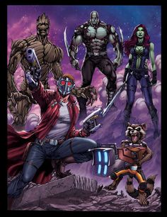 GUARDIANS-OF-THE-GALAXY- Star Lord, Rocket Raccoon, Gamora, Drax, and Groot.