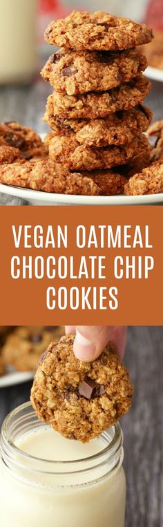 Deliciously chewy vegan oatmeal chocolate chip cookies. Packed with chocolate chips, these brown sugar sweetened treats are easy, fun and a perfect dessert. | lovingitvegan.com