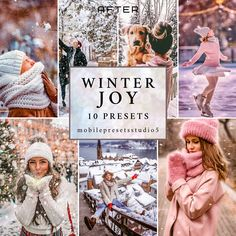 10 WINTER JOY Lightroom Presets Desktop & Mobile,Snow Clean Instagram Presets,Christmas Holiday Light Presets,Portrait Retro Family Presets