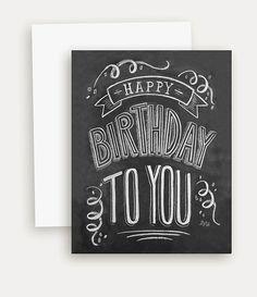 Carte d'anniversaire - Chalkboard Card - carte d'anniversaire Unique - tableau Art - lettrage à la main