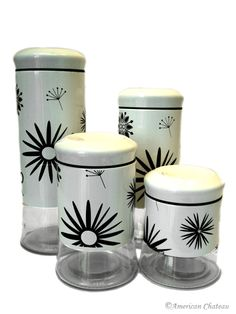 Glass & White Metal Kitchen Canister Set