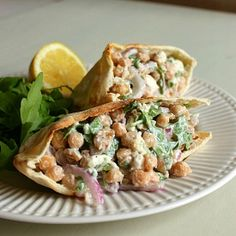 Lemony Walnut Chickpea Salad with Goat's Cheese and Red Onion by amuse-your-bouche #Salad #Chickpea