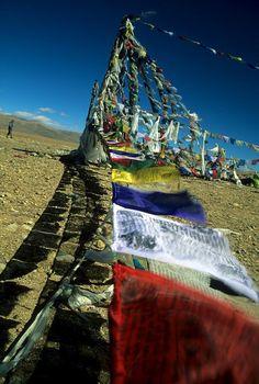flags of prayers, often dedicated to a dear friend - Tibet