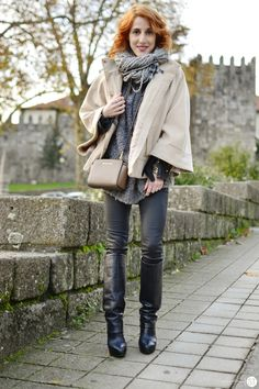 Black, grey and camel winter layers