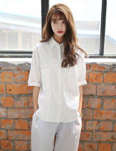 韩版翻领宽松中长款白衬衫