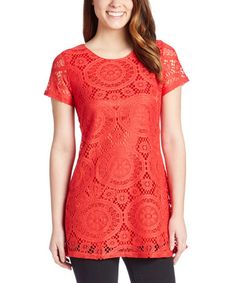 Look what I found on #zulily! Red Lovely Lace Silk-Lined Tunic #zulilyfinds