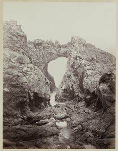 Carleton Watkins (U.S.A., 1829–1916), Arch at the West End, Farallones, 1868–1869, from the album Photographs of the Pacific Coast. Albumen print. Lent by Department of Special Collections, Stanford University Libraries.