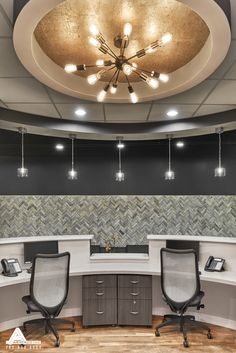 Gold Reception Lighting. Dental Office Design by Arminco Inc.